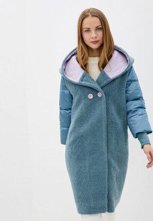 Пальто Grafinia. Цвет: бирюзовый