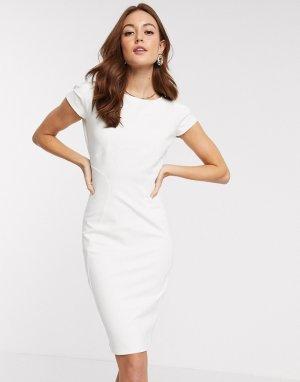 Трикотажное платье-футляр кремового цвета Closet-Кремовый Closet London