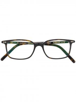 Солнцезащитные очки в прямоугольной оправе Lunor. Цвет: коричневый