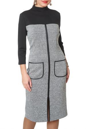 Платье Argent. Цвет: серый меланж, черный