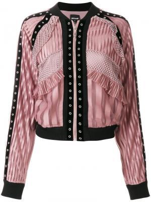 Куртка-бомбер с кружевными панелями Just Cavalli. Цвет: розовый и фиолетовый