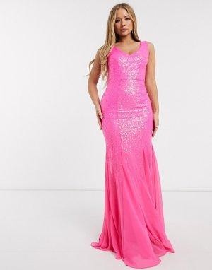 Розовое платье макси с пайетками -Розовый цвет Goddiva