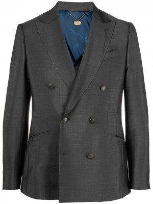 Двубортный пиджак Maurizio Miri. Цвет: серый