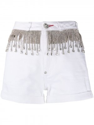 Джинсовые шорты с кристаллами Philipp Plein. Цвет: белый