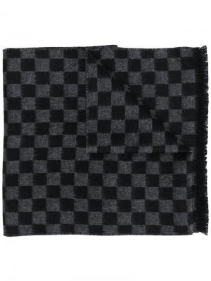 Check knitted scarf Prada. Цвет: черный