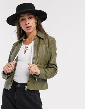 Кожаная куртка оливкового цвета с карманами -Зеленый Object