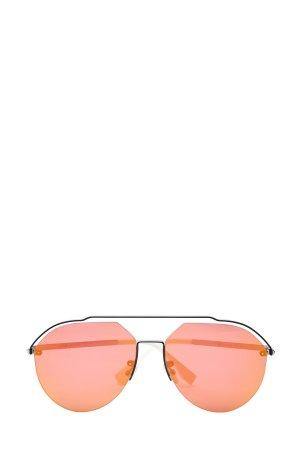 Очки-авиаторы в тонкой металлической оправе FENDI (sunglasses). Цвет: мульти