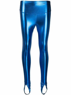 Легинсы Blue Angel с эффектом металлик Maison Close. Цвет: синий