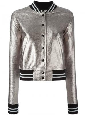 Куртка бомбер на пуговицах R13. Цвет: металлический