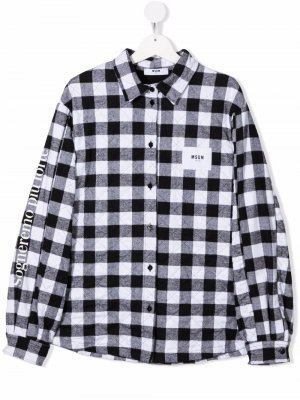 Стеганая куртка-рубашка в клетку гингем MSGM Kids. Цвет: черный