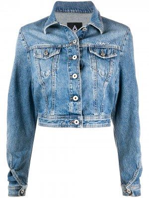 Укороченная джинсовая куртка Marcelo Burlon County of Milan. Цвет: синий