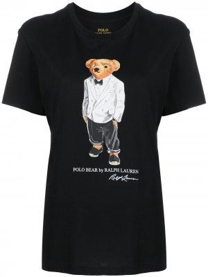 Футболка Polo Bear с логотипом Ralph Lauren. Цвет: черный