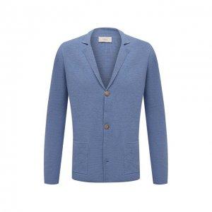 Пиджак изо льна и хлопка Altea. Цвет: голубой