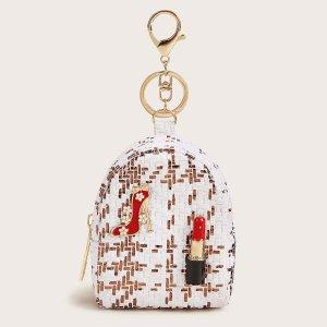 Плетеный кошелек с декором губной помады SHEIN. Цвет: белые