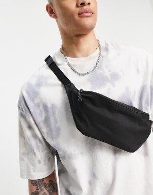 Черная нейлоновая сумка-кошелек через плечо с контрастными пуллерами -Черный цвет ASOS DESIGN