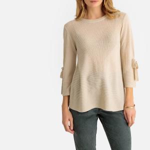 Пуловер с круглым вырезом из тонкого трикотажа смесовой шерсти ANNE WEYBURN. Цвет: серо-бежевый