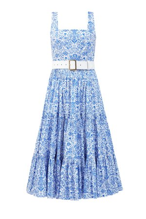 Хлопковое платье-сарафан с флористическим паттерном и съемным ремнем ALEXANDER TEREKHOV. Цвет: голубой