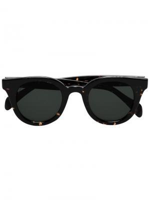 Солнцезащитные очки с эффектом черепашьего панциря Visvim. Цвет: коричневый