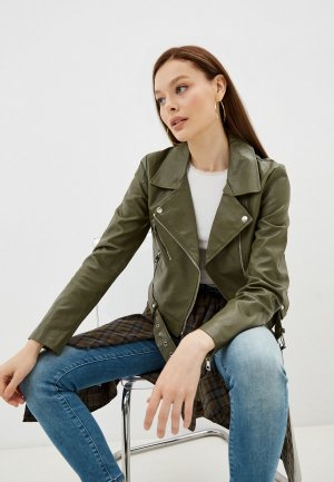 Куртка кожаная Only. Цвет: зеленый