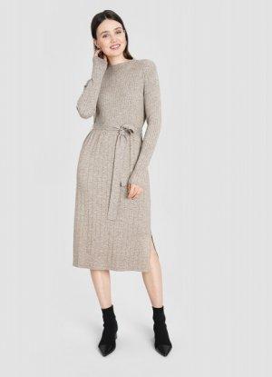 Вязаное платье в рубчик O`Stin. Цвет: cеро-бежевый