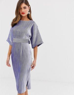 Синее платье-футляр с поясом -Синий Closet London