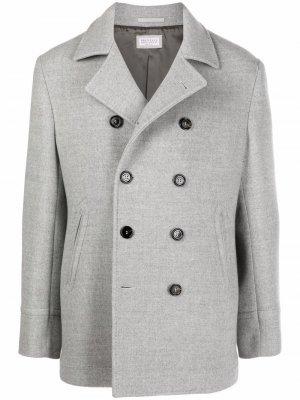 Double-breasted virgin wool coat Brunello Cucinelli. Цвет: серый