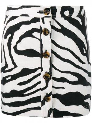 Мини-юбка с зебровым принтом Adam Lippes. Цвет: черный