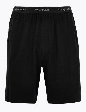 Пижамные шорты из хлопка Supima Autograph. Цвет: черный