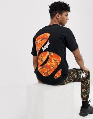 Черная футболка с большим принтом на спине AAPE By A Bathing Ape. Цвет: черный