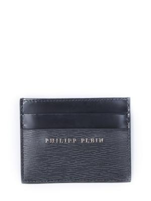 Кожаная визитница Philipp Plein. Цвет: черный
