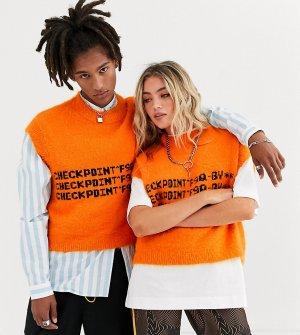 Оранжевая майка в стиле унисекс с принтом COLLUSION-Оранжевый Collusion