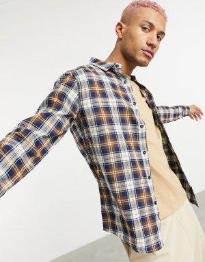 Коричневая рубашка узкого кроя -Коричневый цвет Criminal Damage
