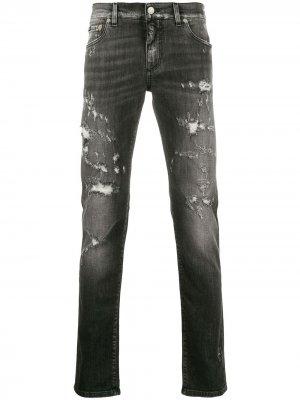 Джинсы скинни с прорезями Dolce & Gabbana. Цвет: серый