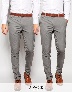 2 пары классических строгих брюк скинни ASOS. Цвет: серый