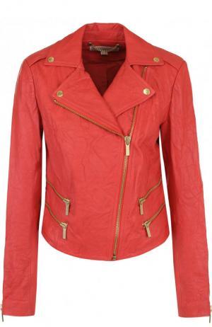 Кожаная куртка с косой молнией MICHAEL Kors. Цвет: красный