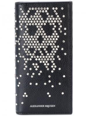 Длинный складной кошелек с заклепками Alexander McQueen. Цвет: черный