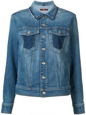 Джинсовая куртка с необработанными краями 7 For All Mankind. Цвет: синий