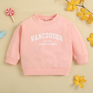 Детский Пуловер цифра и с текстовым принтом SHEIN. Цвет: нежний розовый