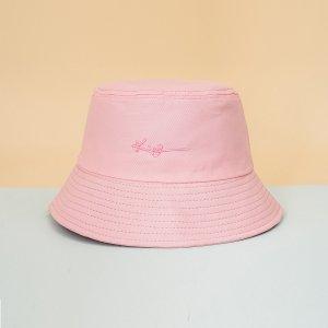 Мужской Панама с текстовой вышивкой SHEIN. Цвет: розовые