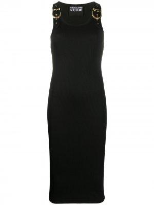 Платье миди с пряжкой Versace Jeans Couture. Цвет: черный