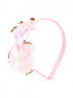 Ободок с цветочной вышивкой Simonetta. Цвет: розовый