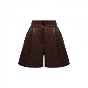 Кожаные шорты Dolce & Gabbana. Цвет: коричневый