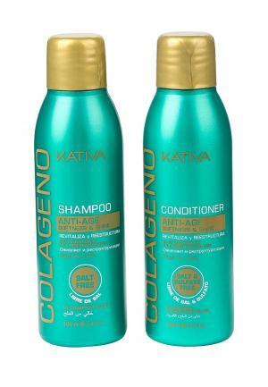 Набор для ухода за волосами Kativa COLLAGENO коллагеновый шампунь + кондиционер, 2 по 100мл