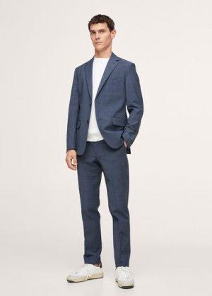 Костюмный пиджак slim fit из шерсти в клетку - Breda Mango. Цвет: индиго
