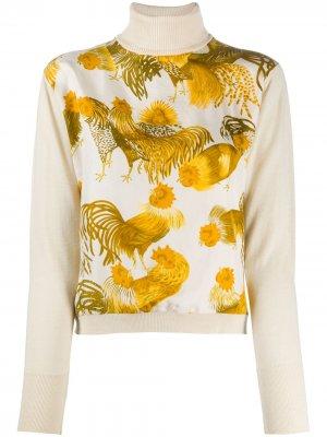 Блузка 2000-х годов с принтом Hermès. Цвет: нейтральные цвета