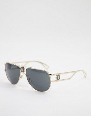 Солнцезащитные очки-авиаторы унисекс в золотистой оправе 0VE2225-Золотистый Versace