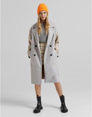 Серое пальто в стиле колор блок -Серый Bershka
