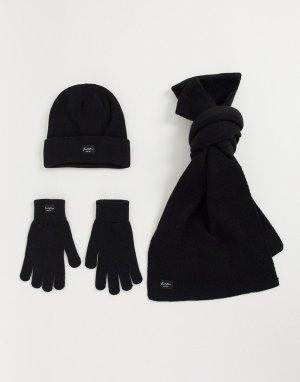 Черная шапка, шарф и перчатки -Черный цвет Jack & Jones