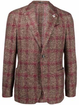 Пиджак в клетку Lardini. Цвет: коричневый