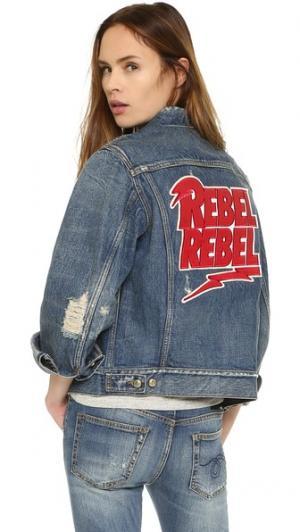 Джинсовая куртка Rebel с вышивкой R13. Цвет: голубая ракета